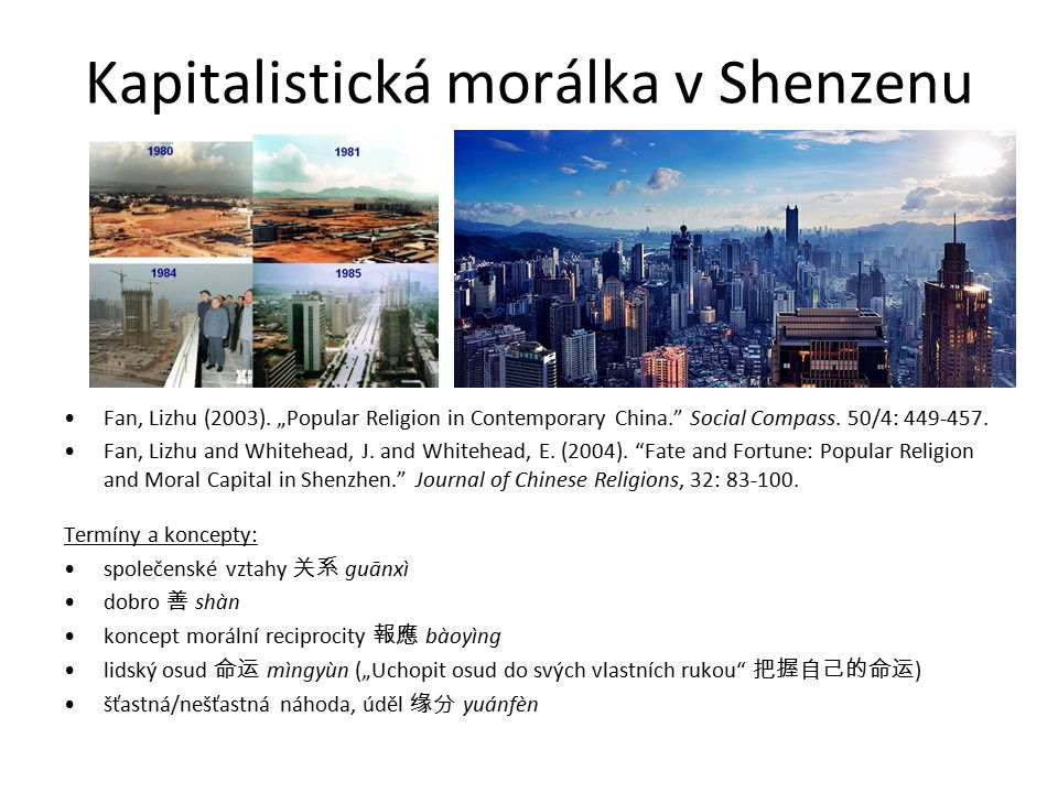 "Kapitalistická morálka v Shenzenu Fan, Lizhu (2003). ""Popular Religion in Contemporary China."" Social Compass. 50/4: 449-457. Fan, Lizhu and Whitehead"