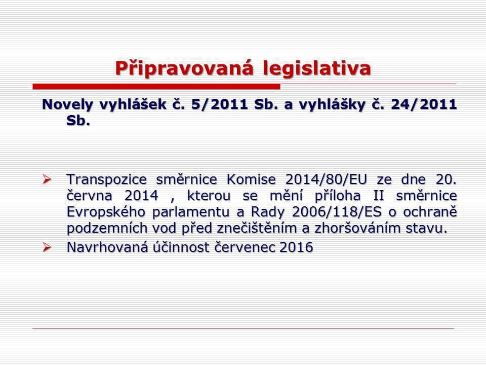 Připravovaná legislativa Novely vyhlášek č. 5/2011 Sb. a vyhlášky č. 24/2011 Sb.  Transpozice směrnice Komise 2014/80/EU ze dne 20. června 2014, kter