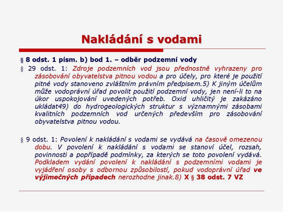 Nakládání s vodami § 8 odst. 1 písm. b) bod 1. – odběr podzemní vody § 29 odst.