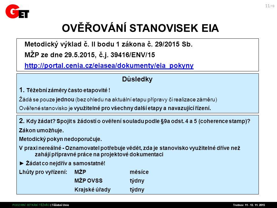 OVĚŘOVÁNÍ STANOVISEK EIA Metodický výklad č. II bodu 1 zákona č.