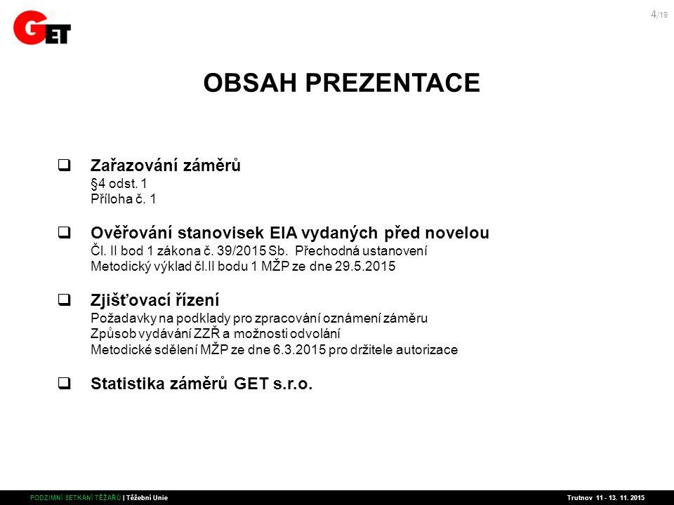 OBSAH PREZENTACE  Zařazování záměrů §4 odst. 1 Příloha č.