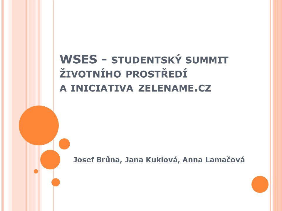 O SNOVA Zelename.cz Kdo Cíle Projekty Proč WSEN – Světová síť studentů životního prostředí Summity WSES A jejich poselství Bonus – přednáška prof.