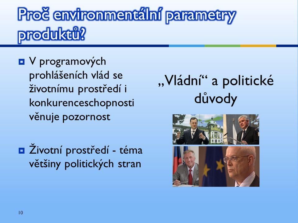  V programových prohlášeních vlád se životnímu prostředí i konkurenceschopnosti věnuje pozornost  Životní prostředí - téma většiny politických stran