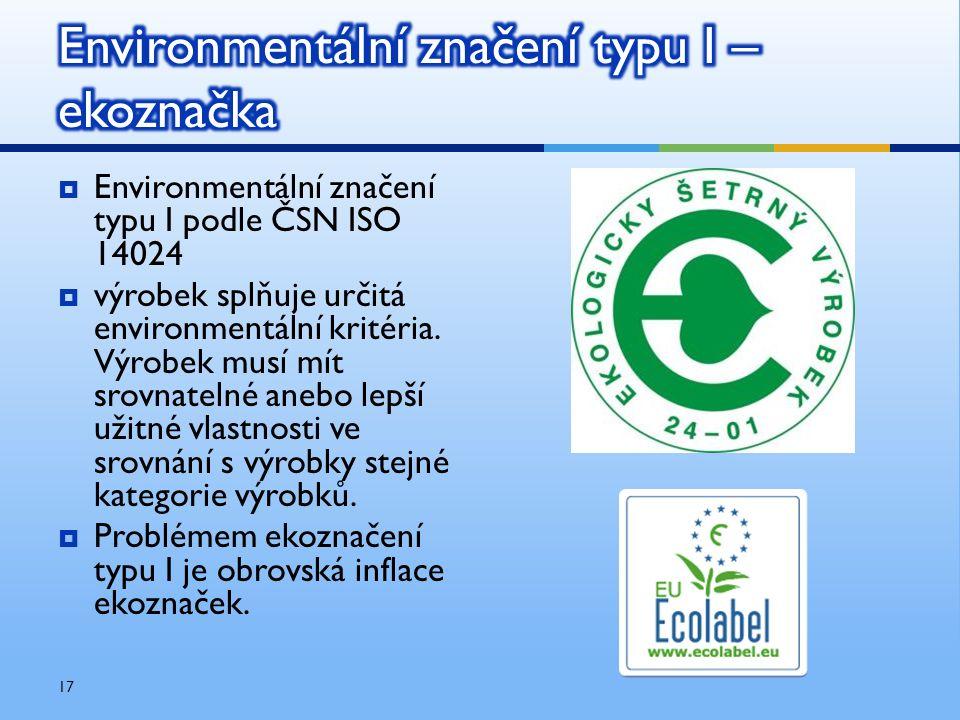  Environmentální značení typu I podle ČSN ISO 14024  výrobek splňuje určitá environmentální kritéria. Výrobek musí mít srovnatelné anebo lepší užitn