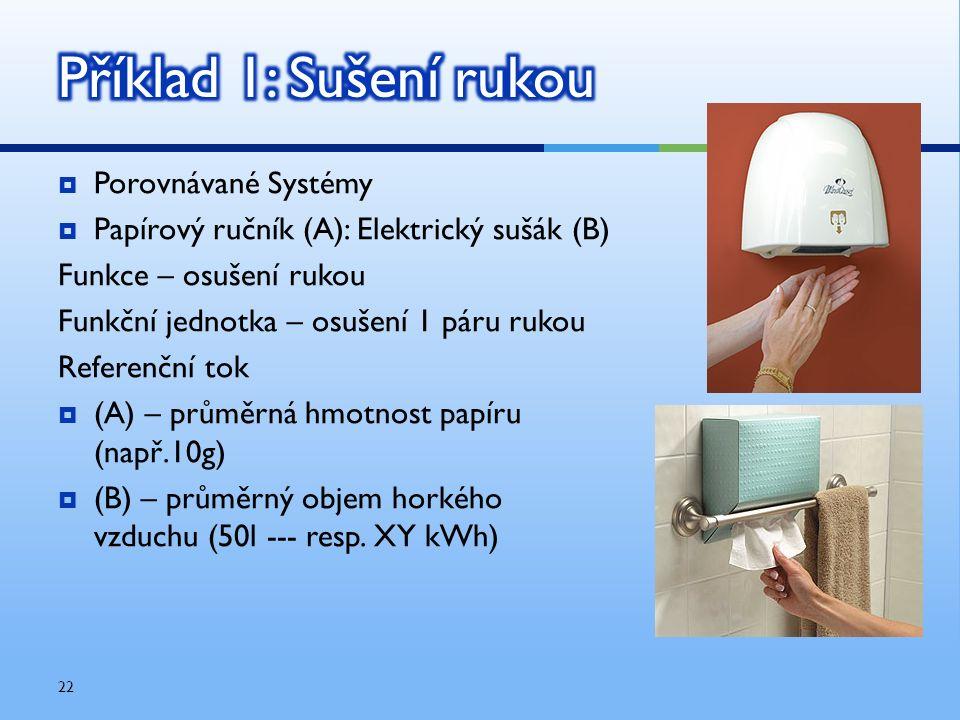  Porovnávané Systémy  Papírový ručník (A): Elektrický sušák (B) Funkce – osušení rukou Funkční jednotka – osušení 1 páru rukou Referenční tok  (A)