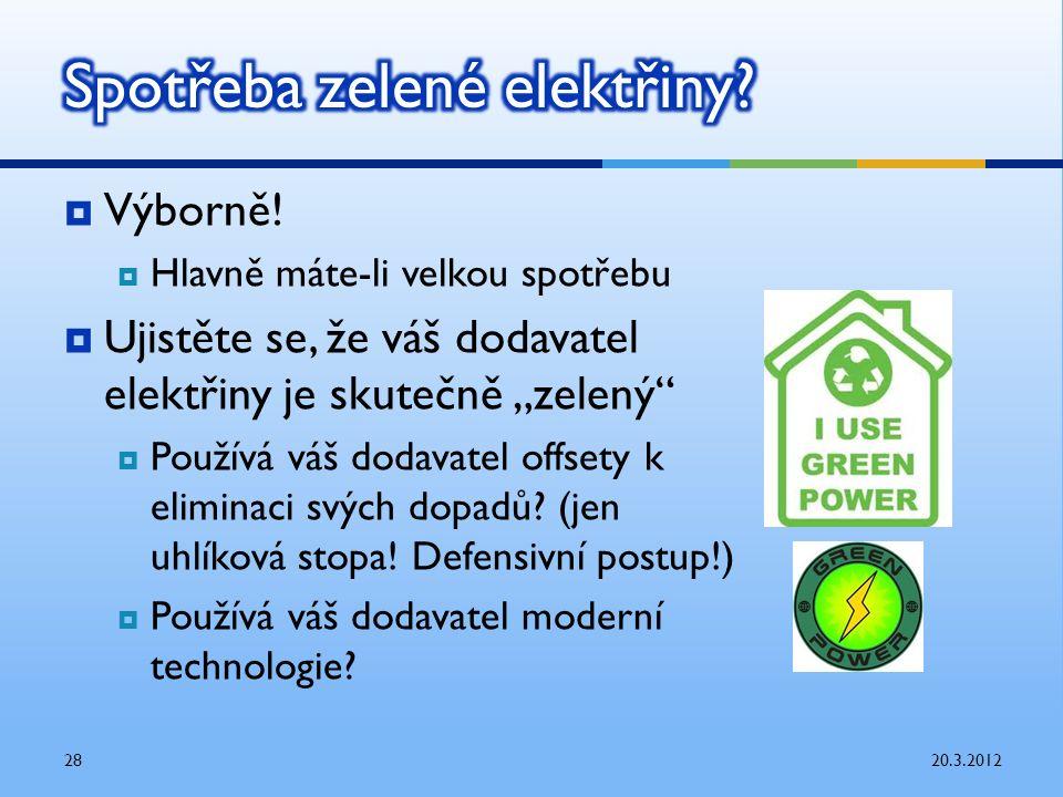""" Výborně!  Hlavně máte-li velkou spotřebu  Ujistěte se, že váš dodavatel elektřiny je skutečně """"zelený""""  Používá váš dodavatel offsety k eliminaci"""