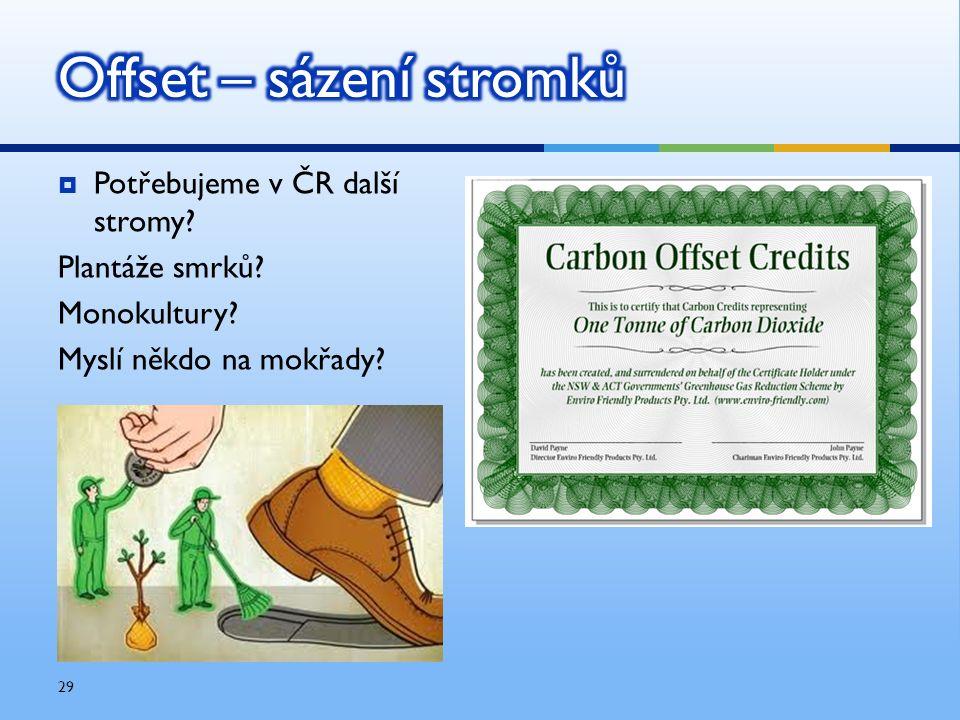  Potřebujeme v ČR další stromy? Plantáže smrků? Monokultury? Myslí někdo na mokřady? 29