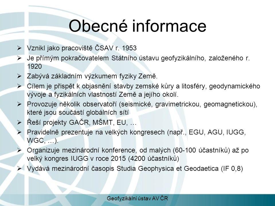 Obecné informace  Kolem 50 vědeckých pracovníků, celkem ca 100 pracovníků  Spolupráce s PřF UK, MFF UK, PřF MUNI, ČZU, FEL ČVUT  Bohatá spolupráce se zahraničními partnery (jak projekty tak přednášky) Geofyzikální ústav AV ČR