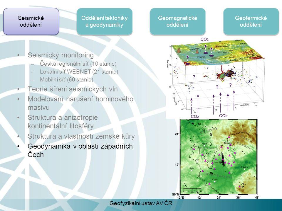 Seismické oddělení Oddělení tektoniky a geodynamiky Geomagnetické oddělení Geotermické oddělení Měření teploty ve vrtech (2-3 km) –Impaktní struktura Chicxulub, Yucatan, Mexico Měření termofyzikálních vlastností hornin –Simulace dynamiky permafrostu a uhlovodíků v arktické Kanadě Modelování tepelného toku v zemské kůře –Rekonstrukce historie povrchové teploty Dlouhodobé monitorování teploty hornin a půd –Vazby mezi teplotou vzduchu, různých povrchů a půdy/horniny Geofyzikální ústav AV ČR