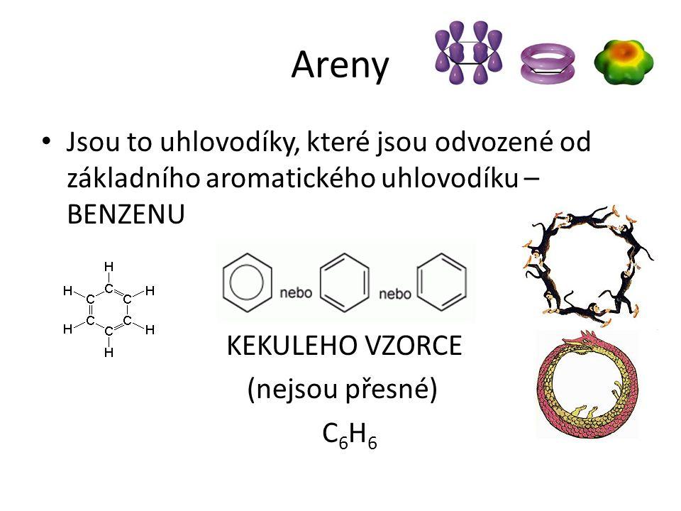 Areny Jsou to uhlovodíky, které jsou odvozené od základního aromatického uhlovodíku – BENZENU KEKULEHO VZORCE (nejsou přesné) C 6 H 6