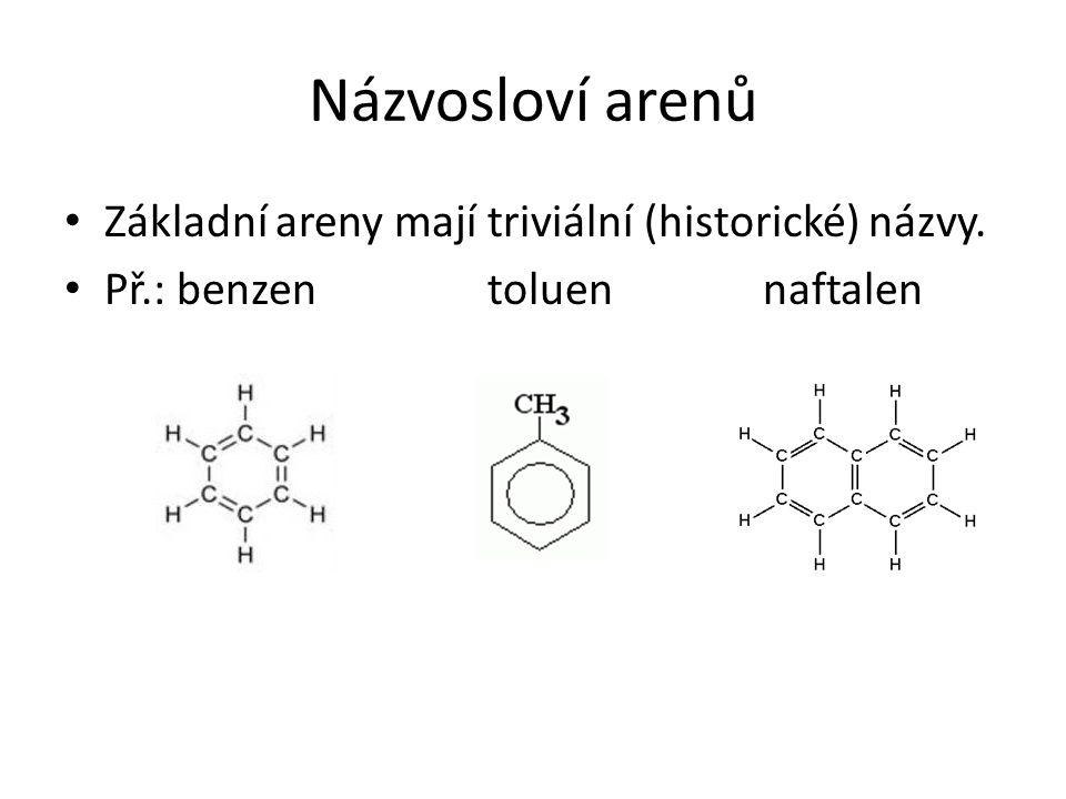 Názvosloví arenů Základní areny mají triviální (historické) názvy. Př.: benzen toluen naftalen