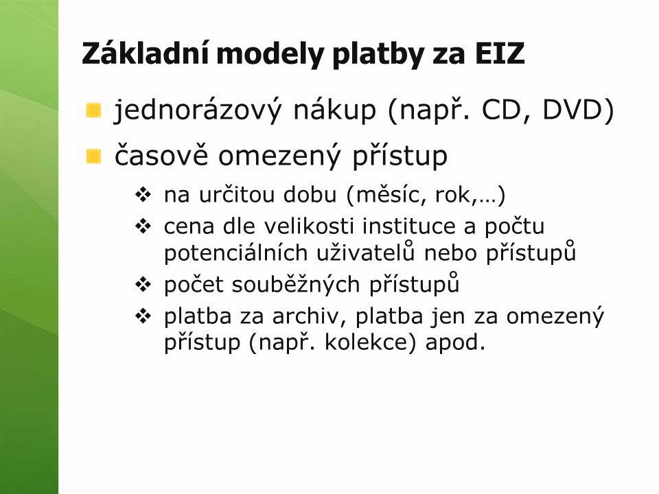 Základní modely platby za EIZ jednorázový nákup (např.