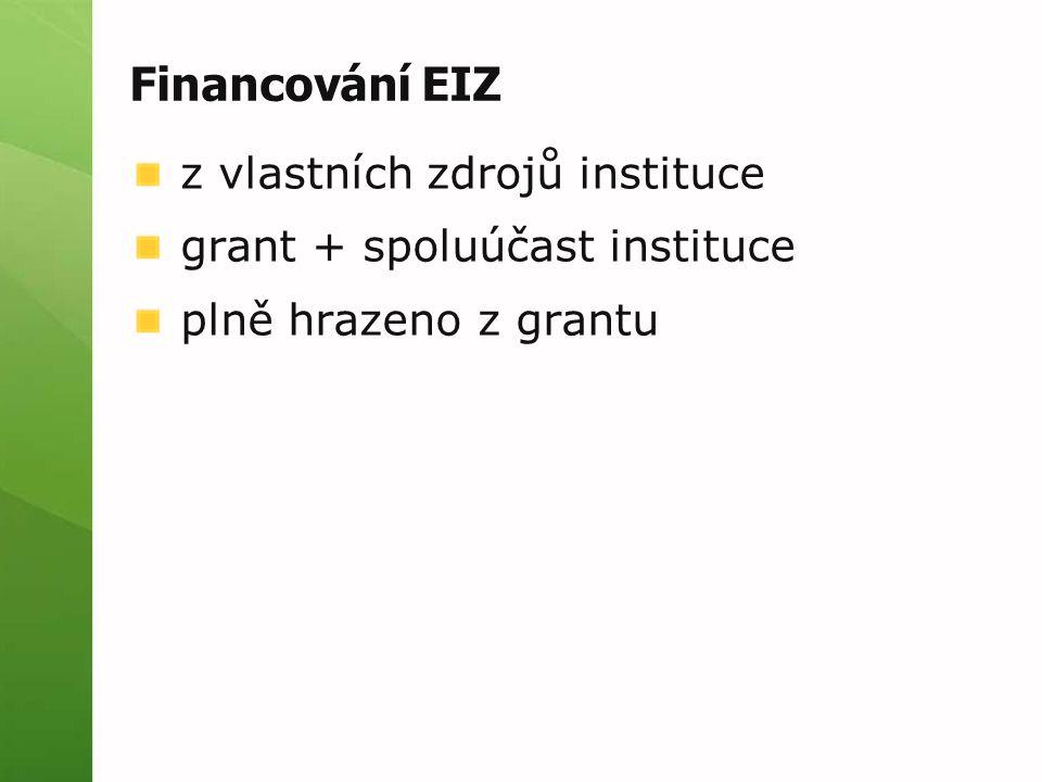 Financování EIZ z vlastních zdrojů instituce grant + spoluúčast instituce plně hrazeno z grantu