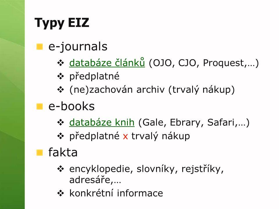Typy EIZ e-journals  databáze článků (OJO, CJO, Proquest,…) databáze článků  předplatné  (ne)zachován archiv (trvalý nákup) e-books  databáze knih (Gale, Ebrary, Safari,…) databáze knih  předplatné x trvalý nákup fakta  encyklopedie, slovníky, rejstříky, adresáře,…  konkrétní informace