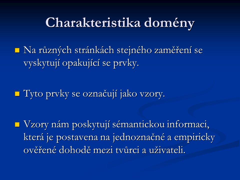 Charakteristika domény Na různých stránkách stejného zaměření se vyskytují opakující se prvky.
