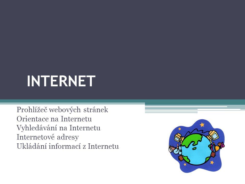 INTERNET Prohlížeč webových stránek Orientace na Internetu Vyhledávání na Internetu Internetové adresy Ukládání informací z Internetu