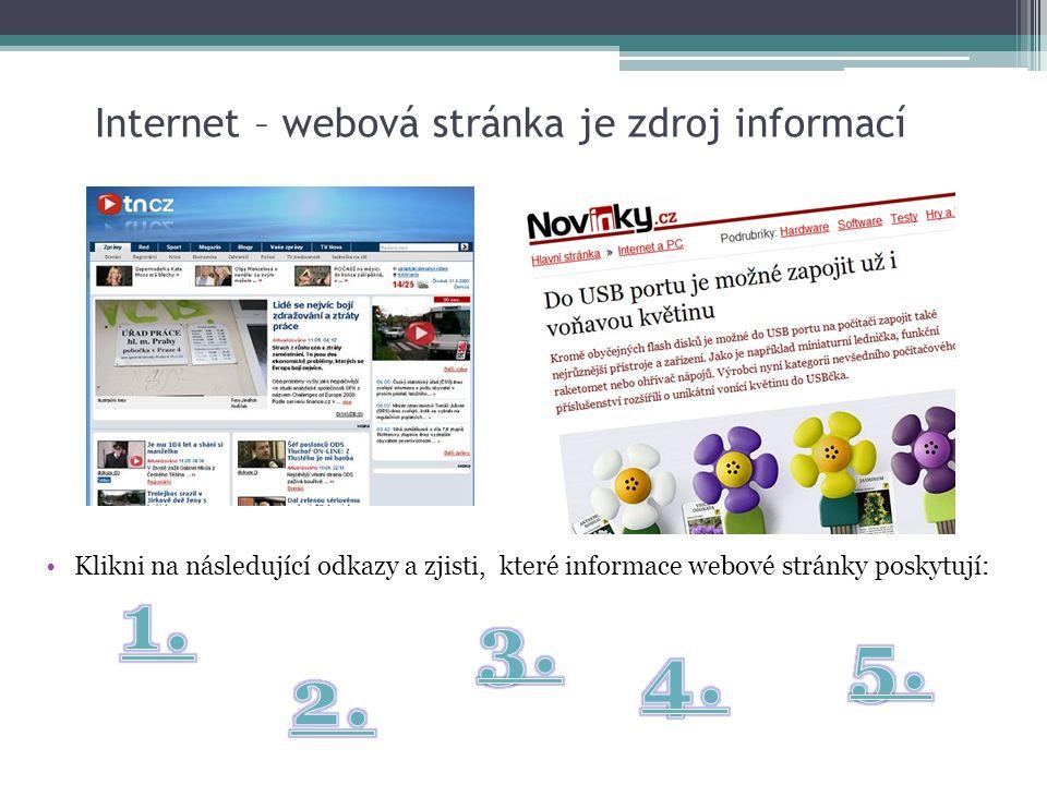 Internet – webová stránka je zdroj informací Klikni na následující odkazy a zjisti, které informace webové stránky poskytují: