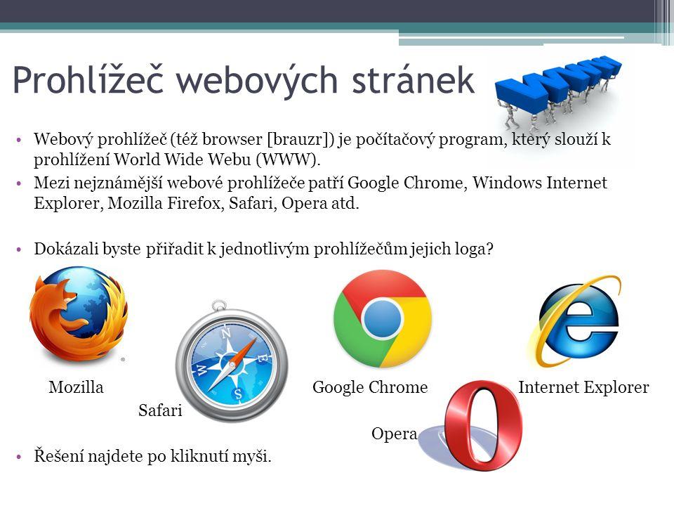 Prohlížeč webových stránek Webový prohlížeč (též browser [brauzr]) je počítačový program, který slouží k prohlížení World Wide Webu (WWW).