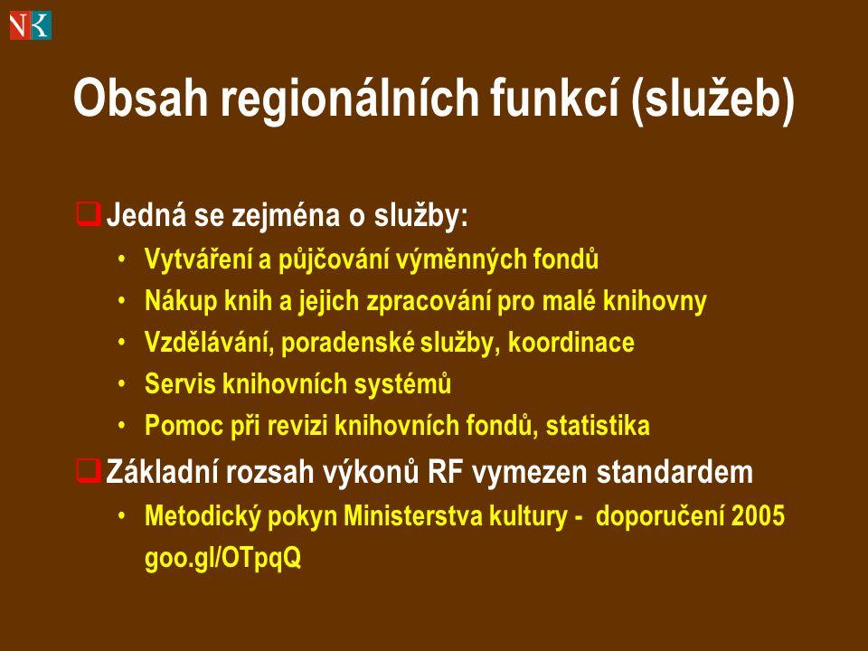 Obsah regionálních funkcí (služeb)  Jedná se zejména o služby: Vytváření a půjčování výměnných fondů Nákup knih a jejich zpracování pro malé knihovny Vzdělávání, poradenské služby, koordinace Servis knihovních systémů Pomoc při revizi knihovních fondů, statistika  Základní rozsah výkonů RF vymezen standardem Metodický pokyn Ministerstva kultury - doporučení 2005 goo.gl/OTpqQ