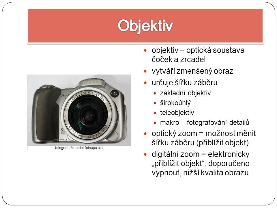 """objektiv – optická soustava čoček a zrcadel vytváří zmenšený obraz určuje šířku záběru základní objektiv širokoúhlý teleobjektiv makro – fotografování detailů optický zoom = možnost měnit šířku záběru (přiblížit objekt) digitální zoom = elektronicky """"přiblížit objekt , doporučeno vypnout, nižší kvalita obrazu fotografie školního fotoaparátu"""