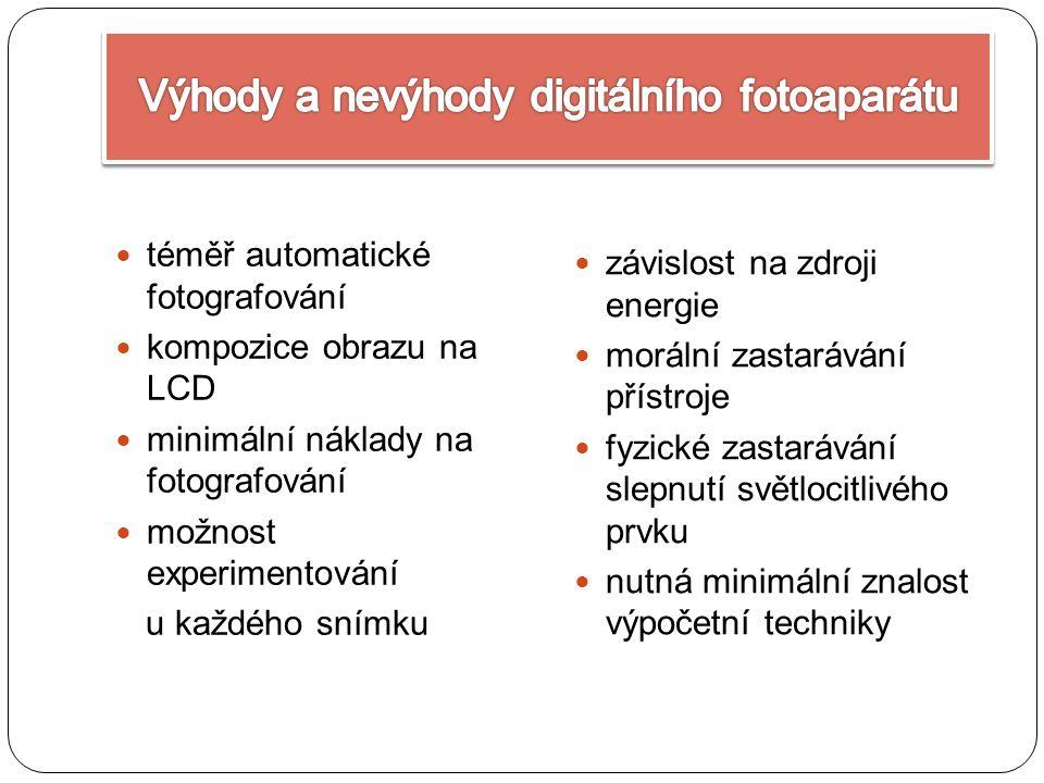 téměř automatické fotografování kompozice obrazu na LCD minimální náklady na fotografování možnost experimentování u každého snímku závislost na zdroji energie morální zastarávání přístroje fyzické zastarávání slepnutí světlocitlivého prvku nutná minimální znalost výpočetní techniky