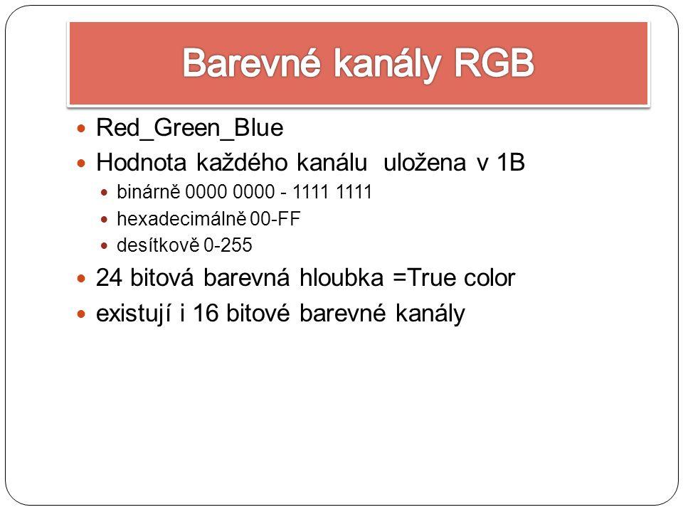 Red_Green_Blue Hodnota každého kanálu uložena v 1B binárně 0000 0000 - 1111 1111 hexadecimálně 00-FF desítkově 0-255 24 bitová barevná hloubka =True color existují i 16 bitové barevné kanály