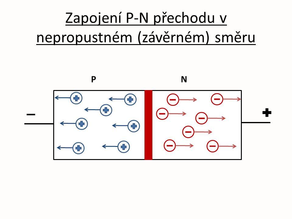 Zapojení P-N přechodu v nepropustném (závěrném) směru PN