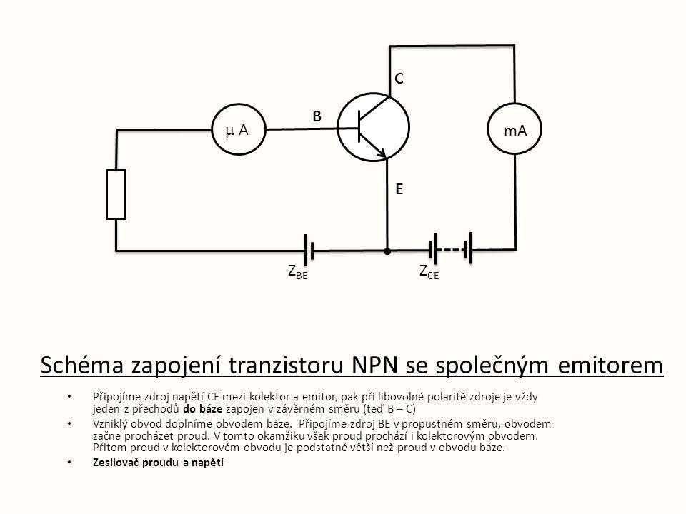 Schéma zapojení tranzistoru NPN se společným emitorem Připojíme zdroj napětí CE mezi kolektor a emitor, pak při libovolné polaritě zdroje je vždy jeden z přechodů do báze zapojen v závěrném směru (teď B – C) Vzniklý obvod doplníme obvodem báze.