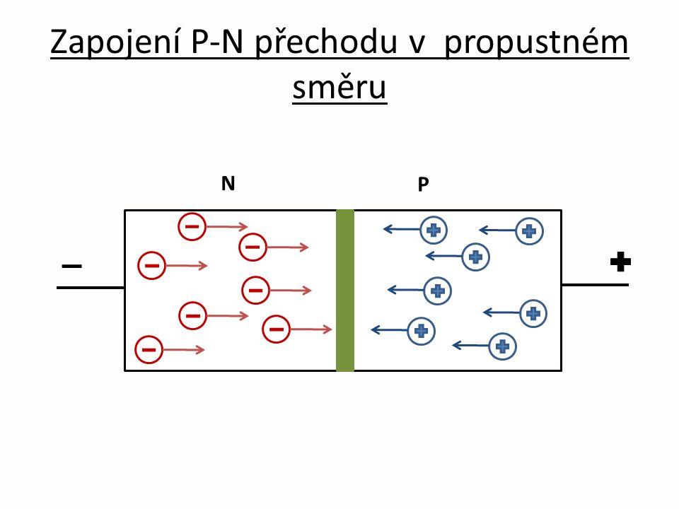 Zapojení P-N přechodu v propustném směru N P