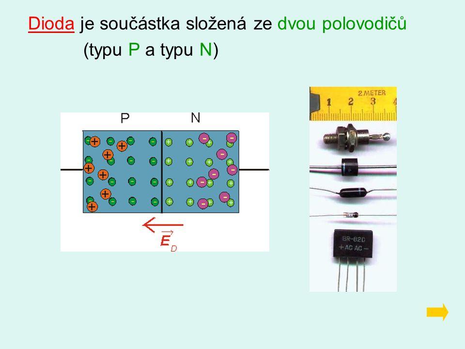 Dioda je součástka složená ze dvou polovodičů (typu P a typu N)