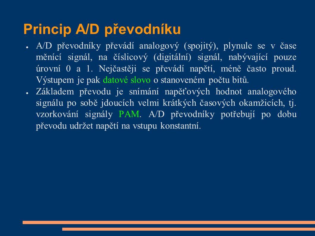 Princip A/D převodníku ● A/D převodníky převádí analogový (spojitý), plynule se v čase měnící signál, na číslicový (digitální) signál, nabývající pouz