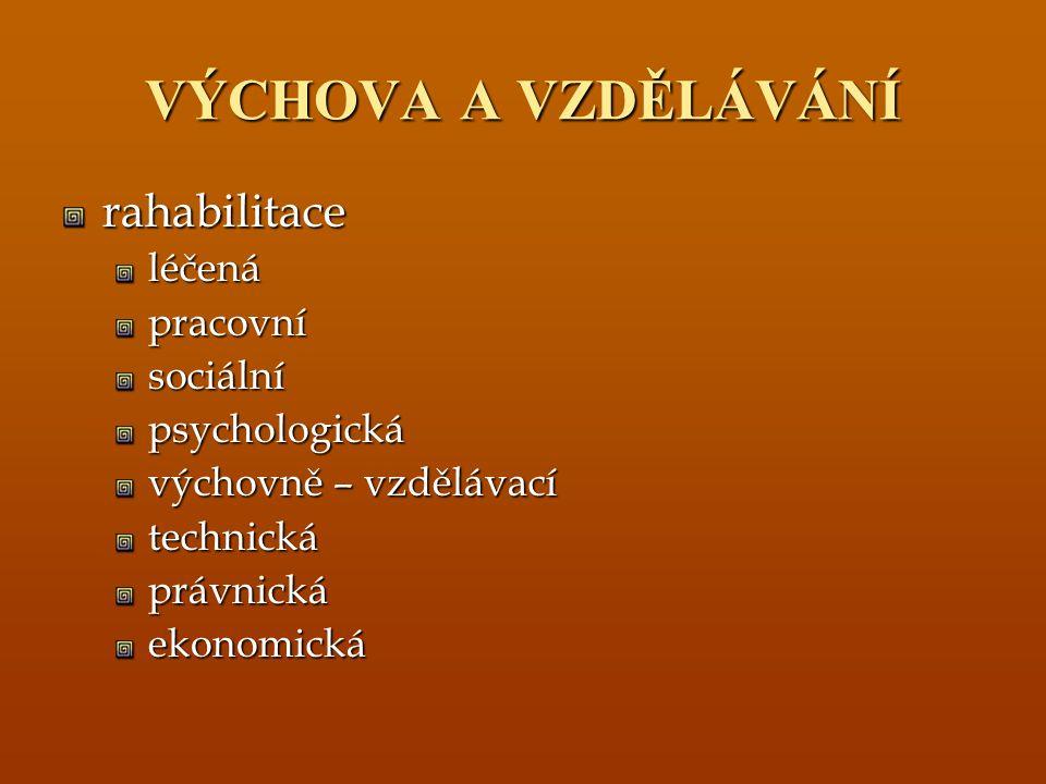 VÝCHOVA A VZDĚLÁVÁNÍ rahabilitaceléčenápracovnísociálnípsychologická výchovně – vzdělávací technickáprávnickáekonomická