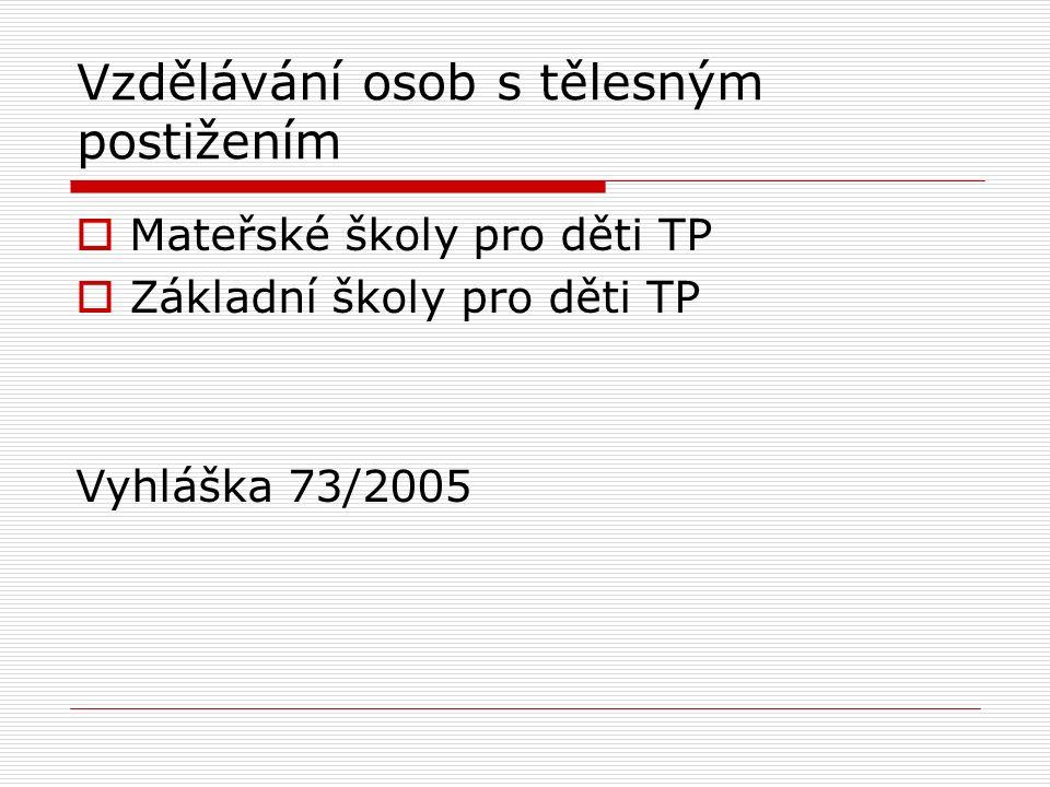 Vzdělávání osob s tělesným postižením  Mateřské školy pro děti TP  Základní školy pro děti TP Vyhláška 73/2005