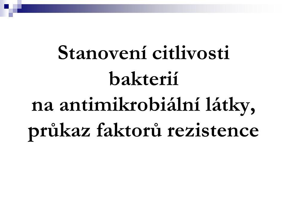 Stanovení citlivosti bakterií na antimikrobiální látky, průkaz faktorů rezistence
