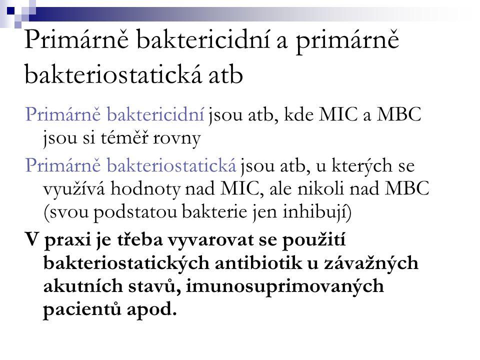 Primárně baktericidní a primárně bakteriostatická atb Primárně baktericidní jsou atb, kde MIC a MBC jsou si téměř rovny Primárně bakteriostatická jsou atb, u kterých se využívá hodnoty nad MIC, ale nikoli nad MBC (svou podstatou bakterie jen inhibují) V praxi je třeba vyvarovat se použití bakteriostatických antibiotik u závažných akutních stavů, imunosuprimovaných pacientů apod.
