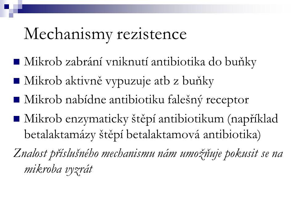 Mechanismy rezistence Mikrob zabrání vniknutí antibiotika do buňky Mikrob aktivně vypuzuje atb z buňky Mikrob nabídne antibiotiku falešný receptor Mikrob enzymaticky štěpí antibiotikum (například betalaktamázy štěpí betalaktamová antibiotika) Znalost příslušného mechanismu nám umožňuje pokusit se na mikroba vyzrát