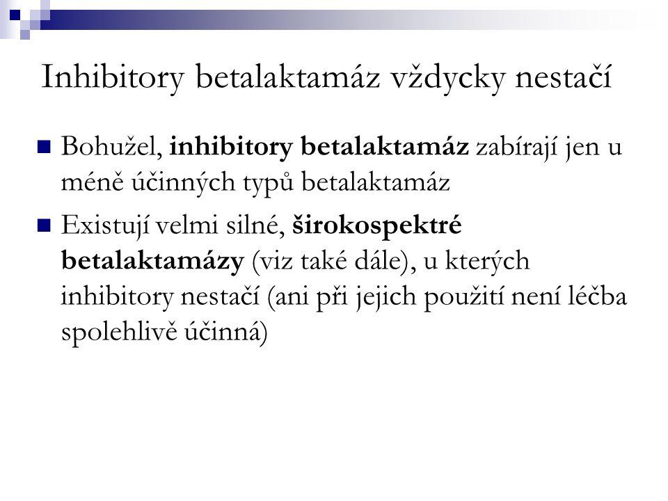 Inhibitory betalaktamáz vždycky nestačí Bohužel, inhibitory betalaktamáz zabírají jen u méně účinných typů betalaktamáz Existují velmi silné, širokospektré betalaktamázy (viz také dále), u kterých inhibitory nestačí (ani při jejich použití není léčba spolehlivě účinná)
