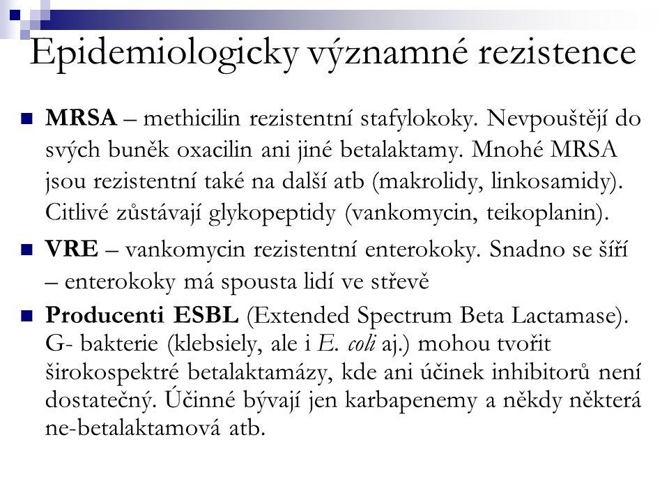 Epidemiologicky významné rezistence MRSA – methicilin rezistentní stafylokoky.