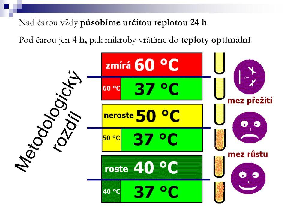 Mikroby a vnější vlivy II Někdy se účinek faktorů kombinuje Faktor, který se kombinuje vždy, je čas Rezistentní, sporulující bakterie 160 °C170 °C180 °C 20 minpřežívá hyne 30 minpřežíváhyne 60 minhyne