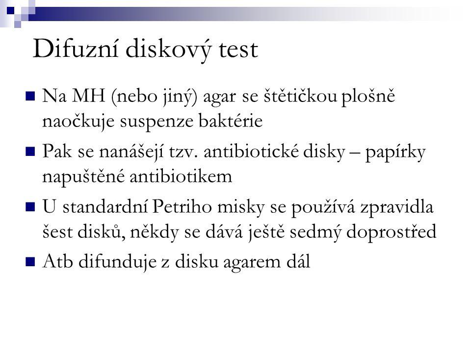 Difuzní diskový test Na MH (nebo jiný) agar se štětičkou plošně naočkuje suspenze baktérie Pak se nanášejí tzv.