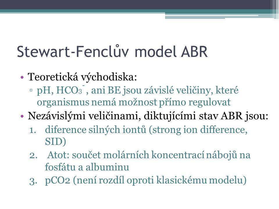 Stewart-Fenclův model ABR Teoretická východiska: ▫pH, HCO 3 -, ani BE jsou závislé veličiny, které organismus nemá možnost přímo regulovat Nezávislými veličinami, diktujícími stav ABR jsou: 1.diference silných iontů (strong ion difference, SID) 2.