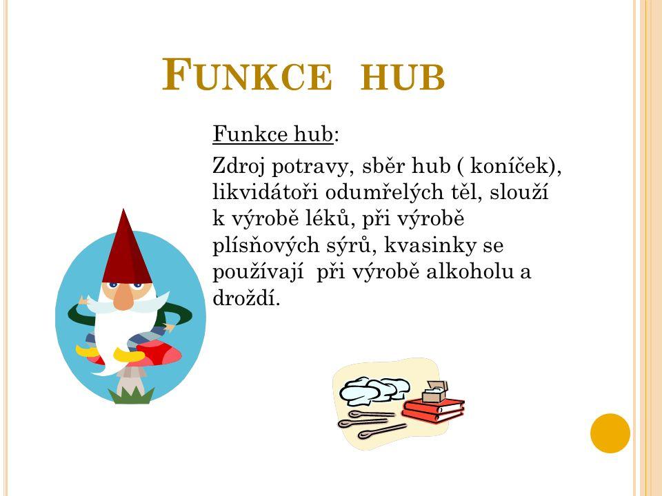F UNKCE HUB Funkce hub: Zdroj potravy, sběr hub ( koníček), likvidátoři odumřelých těl, slouží k výrobě léků, při výrobě plísňových sýrů, kvasinky se používají při výrobě alkoholu a droždí.
