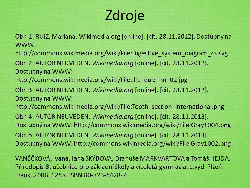 Zdroje Obr. 1: RUIZ, Mariana. Wikimedia.org [online]. [cit. 28.11.2012]. Dostupný na WWW: http://commons.wikimedia.org/wiki/File:Digestive_system_diag