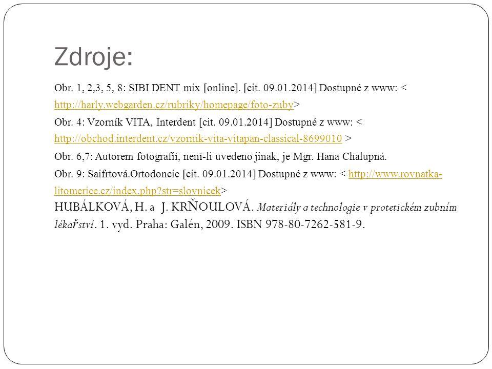 Zdroje: Obr. 1, 2,3, 5, 8: SIBI DENT mix [online].