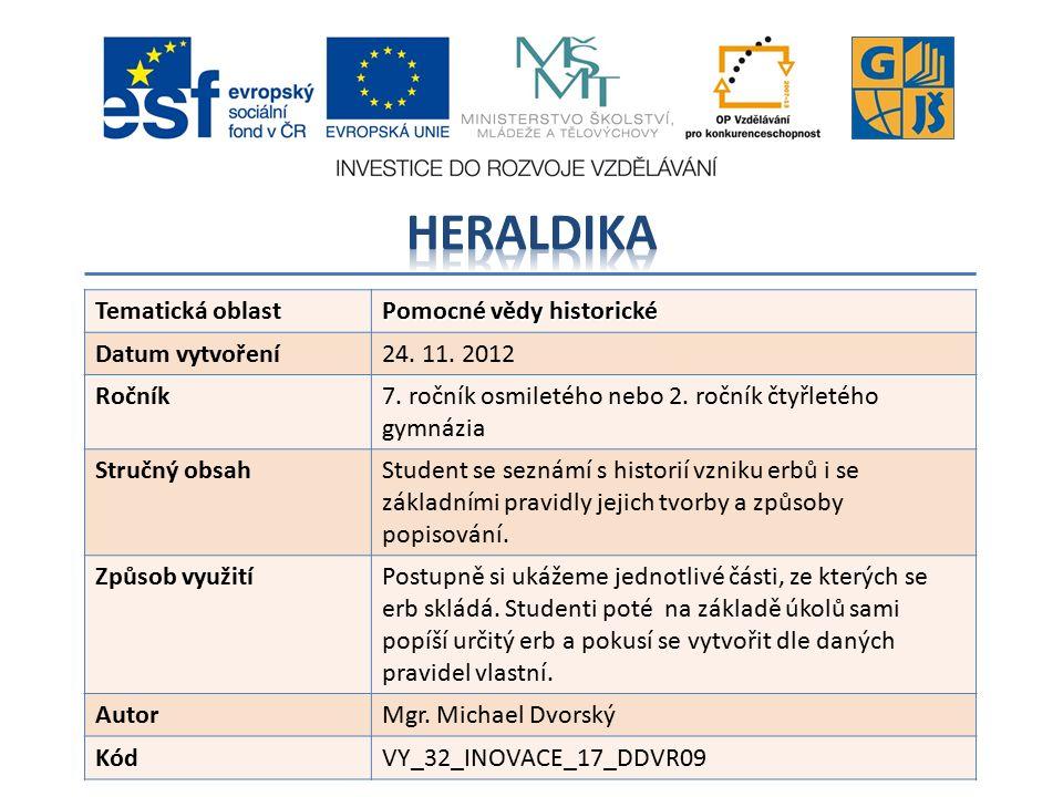 Tematická oblast Pomocné vědy historické Datum vytvoření24.