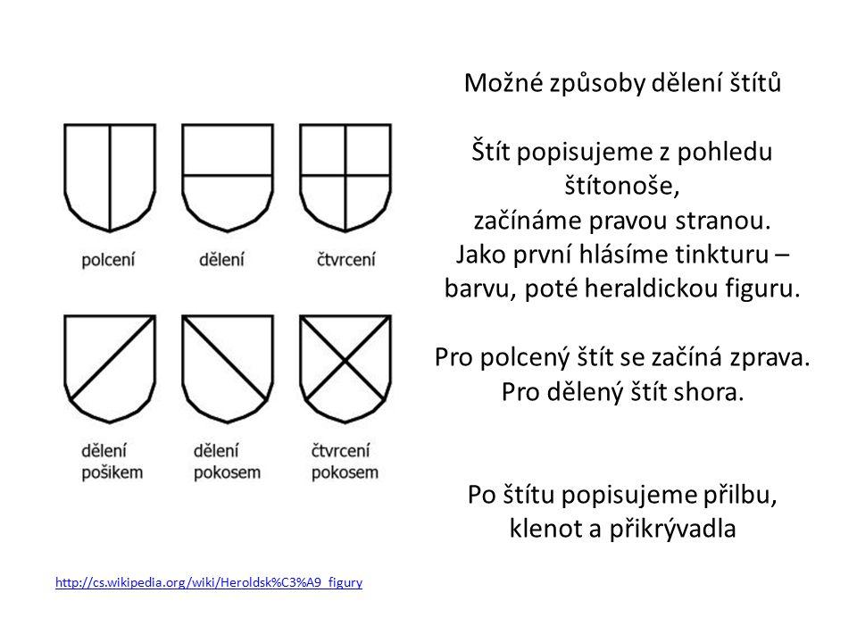 http://cs.wikipedia.org/wiki/Heroldsk%C3%A9_figury Možné způsoby dělení štítů Štít popisujeme z pohledu štítonoše, začínáme pravou stranou.