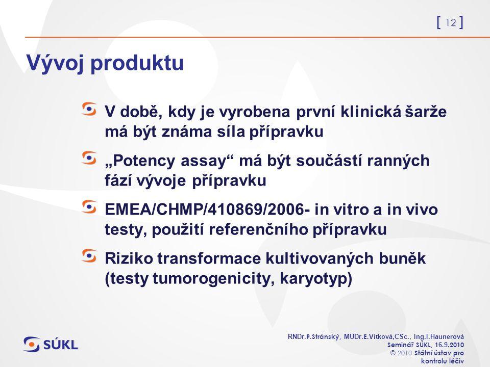 [ 12 ] RNDr. P.Stránský, MUDr. E. Vítková,CSc., Ing.I.Haunerová Seminář SÚKL, 1 6.