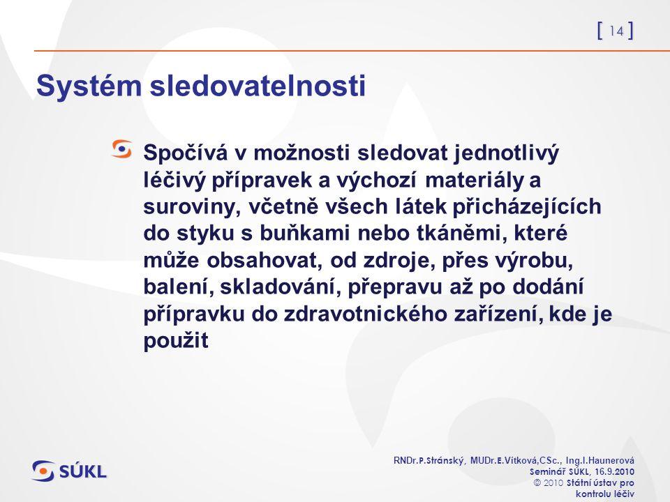 [ 14 ] RNDr. P.Stránský, MUDr. E. Vítková,CSc., Ing.I.Haunerová Seminář SÚKL, 1 6.