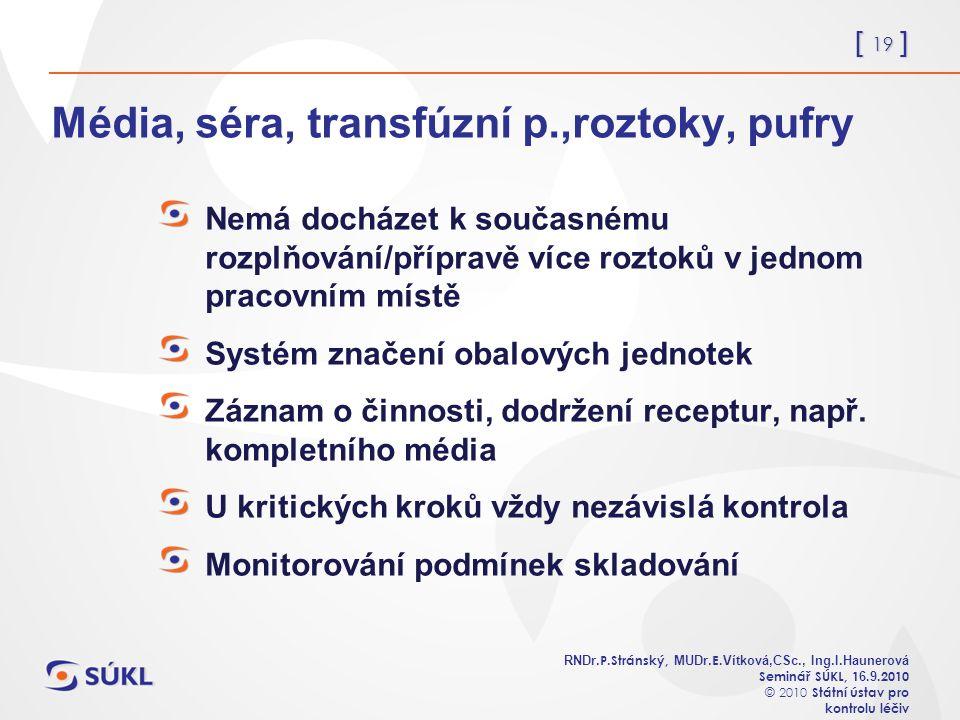 [ 19 ] RNDr. P.Stránský, MUDr. E. Vítková,CSc., Ing.I.Haunerová Seminář SÚKL, 1 6.
