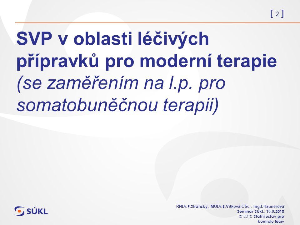 [ 2 ] RNDr. P.Stránský, MUDr. E. Vítková,CSc., Ing.I.Haunerová Seminář SÚKL, 1 6.